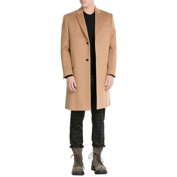 Valentino Camel Hair Coat (61 095 UAH) ❤ liked on Polyvore featuring men's fashion, men's clothing, men's outerwear, men's coats, mens slim fit coat, mens camel hair coat, mens slim pea coat, mens camel coat and mens camel wool coat