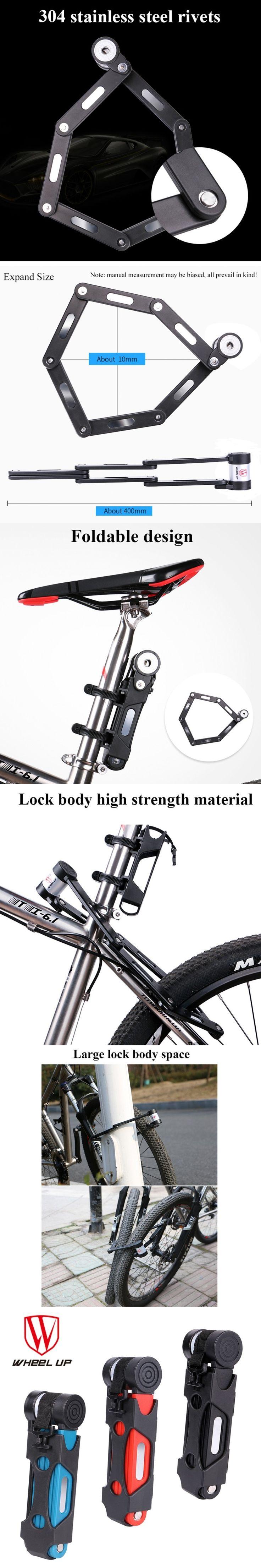 WHEEL UP  3 colors Anti-cut Safety MTB Folding Bike Lock Professional Anti-theft Alloy Steel Foldable Bicycle Lock Keys Password