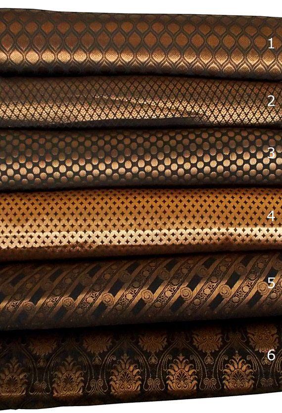 Bundle of Black Indian silk brocade fabric set of 6 fat quarters