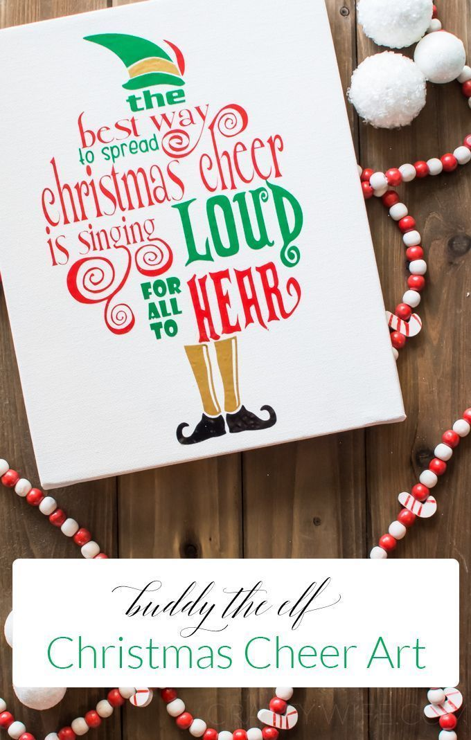 Spread some Christmas cheer with this adorable canvas quote art from the movie Elf! Give it as a gift or hang it in your home as a reminder to sing loud and proud this holiday season!