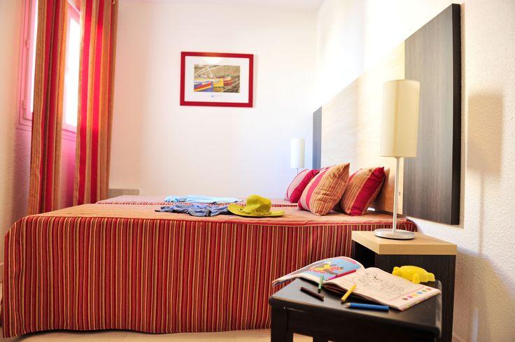 Exemple de chambres dans la résidence Goelia le Grand Bleu à Port Barcarès.