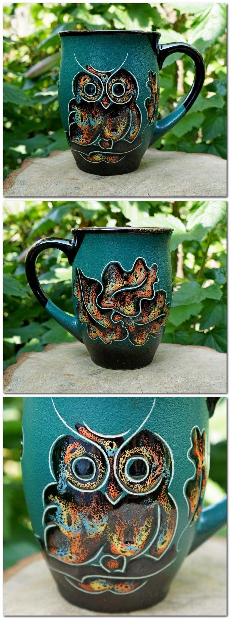 $21.85 Large coffee mug Ceramic mug Owl Gift for father Coffee cup Brother gift Mom gift Husband gift Daughter gift Green Owls mug Office gift #Owl_mug_ceramic #large_coffee_mug #wife_mug