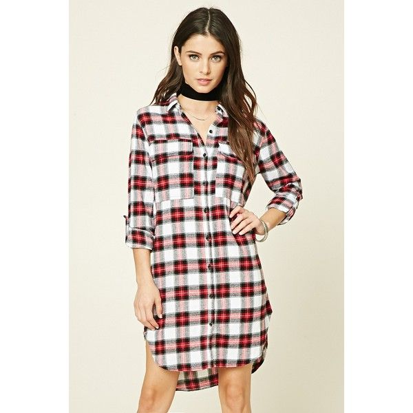 Forever21 Plaid Flannel Shirt Dress ($16) ❤ liked on Polyvore featuring dresses, t-shirt dresses, plaid flannel dress, white shirt dress, flannel shirt dress and plaid shirt dress