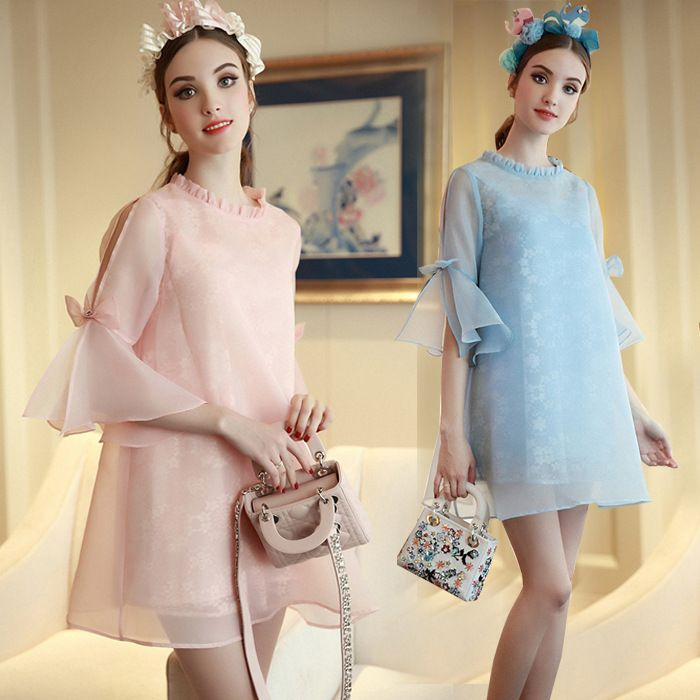 (Buy here: http://appdeal.ru/l1p ) Italy D & C style summer brand  women organza lace trumpet sleeves bow princess a-line princess dress  free shipping femme robe for just US $40.00