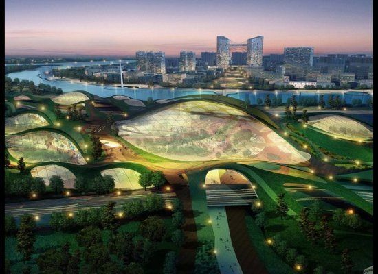 Tianjin Eco-City In China: not sure i'm a fan of the futuristic aesthetic, but this project is definitely promising