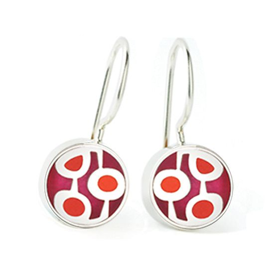 Jewel Geometric Earrings: Victoria Varga: Silver & Resin Earrings - Artful Home