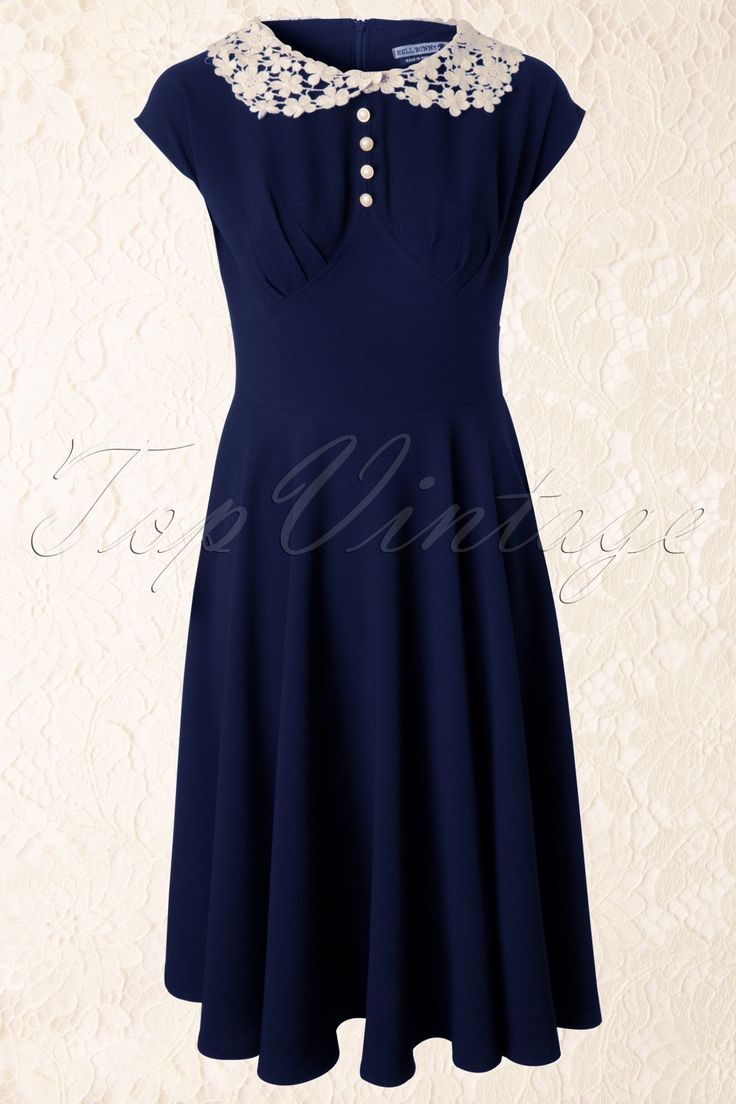 Bunny - 40s Emillie Dress in Navy
