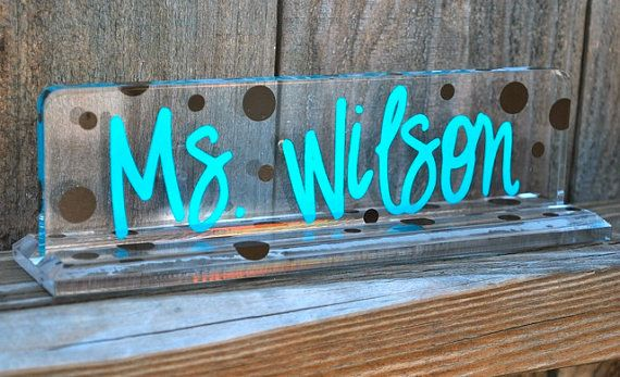 Personalized Acrylic Teacher Name Plate by limetreegifts on Etsy. , via Etsy.
