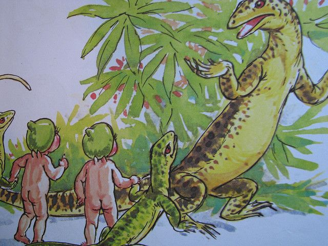 """I like the idea of a lizard throwing up his hands! """"Snugglepot and Cuddlepie meet Mr Lizard"""". Illustrated by Noela Young. Original characters created by May Gibbs, 1970"""