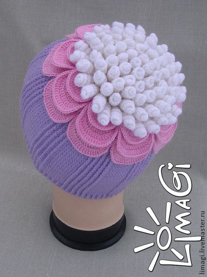"Шапочка ""Анастасия"" - описание - шапочка вязаная,шапочка крючком,шапочка для девочки"