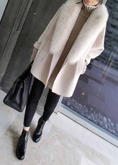 Pocket Design Long Sleeve Faux Fur Collar Coat