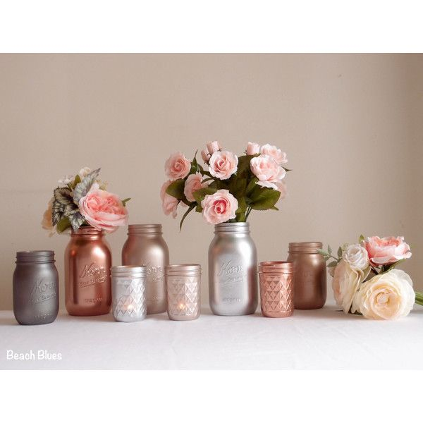 wedding reception decor centerpiece metallic mason jars rose gold copper silver grey blush home decor