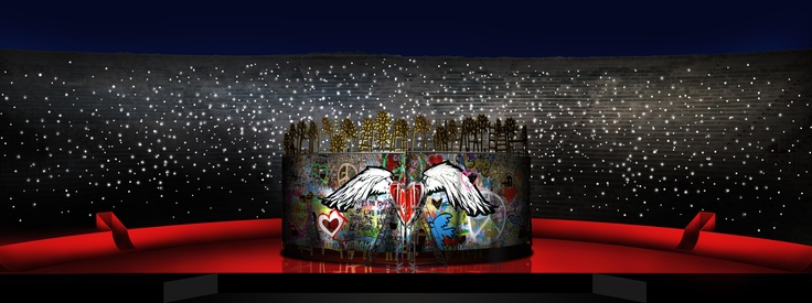 www.arena.it Arena di Verona, Roméo et Juliette by Charles Gounod.   2011, Sketches by Edoardo Sanchi