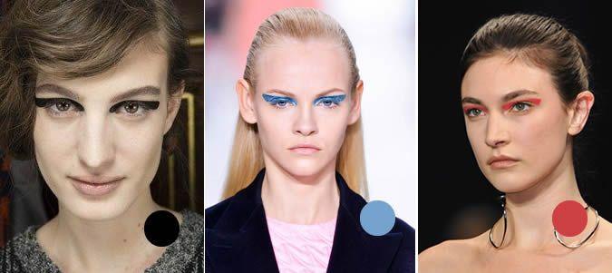 Strakke horizontale strepen boven de ogen in allerlei kleuren al dan niet metallic, bij een verder neutrale make-up.