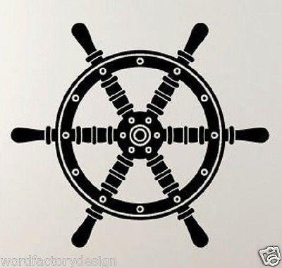 Pirate Ship Helm Steering Wheel Boat Nautical Navigate Vinyl Wall Decal Art
