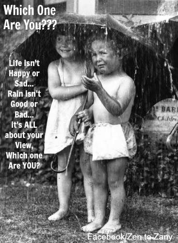 Which one are You?? Life isn't Happy or Sad... Rain isn't Good or Bad... It's ALL about your View, which one are You?