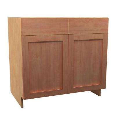 36x34.5x24 in. Elice Sink Base Cabinet with 2 Soft Close Doors and 2 False Drawer Fronts in Cumin
