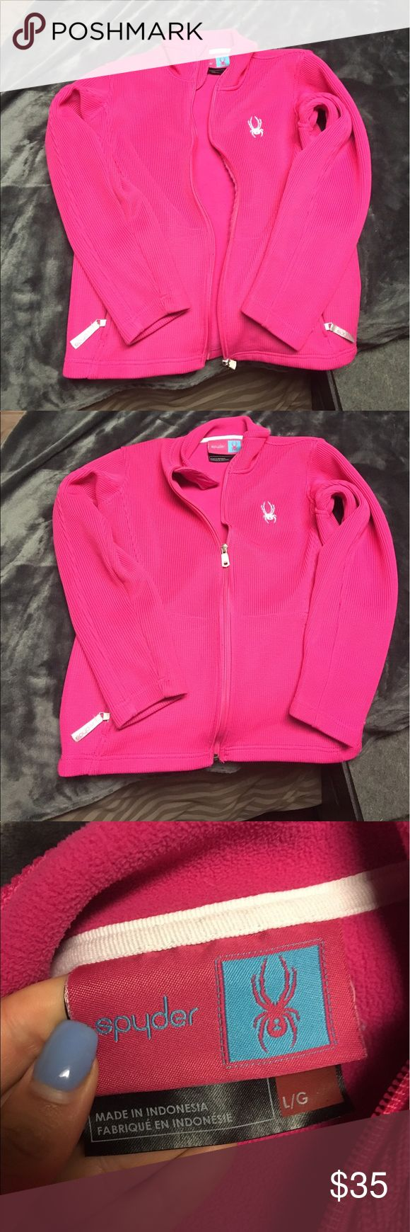 Bright Pink Spyder zip up This is a girls size large but fits a women's small or xs perfect! Great condition Spyder Jackets & Coats