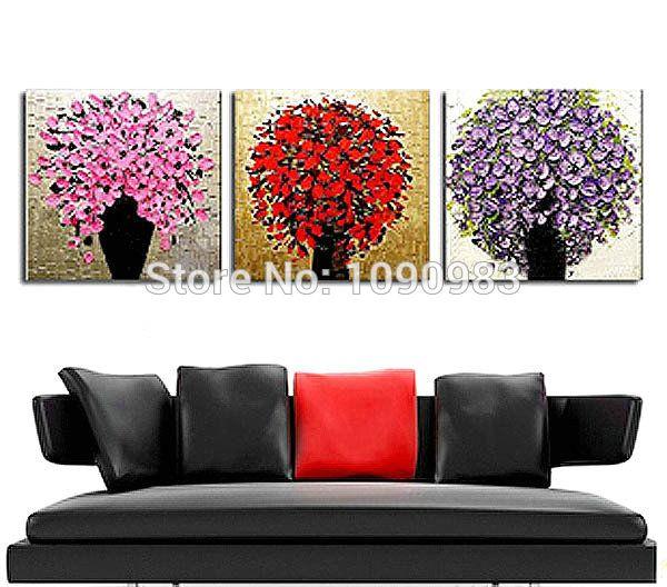 100% el boya yağlı boya palet bıçak dokulu yağlıboya tuval duvar sanat tuval 3 adet/set, üst ev dekor dh090(China (Mainland))