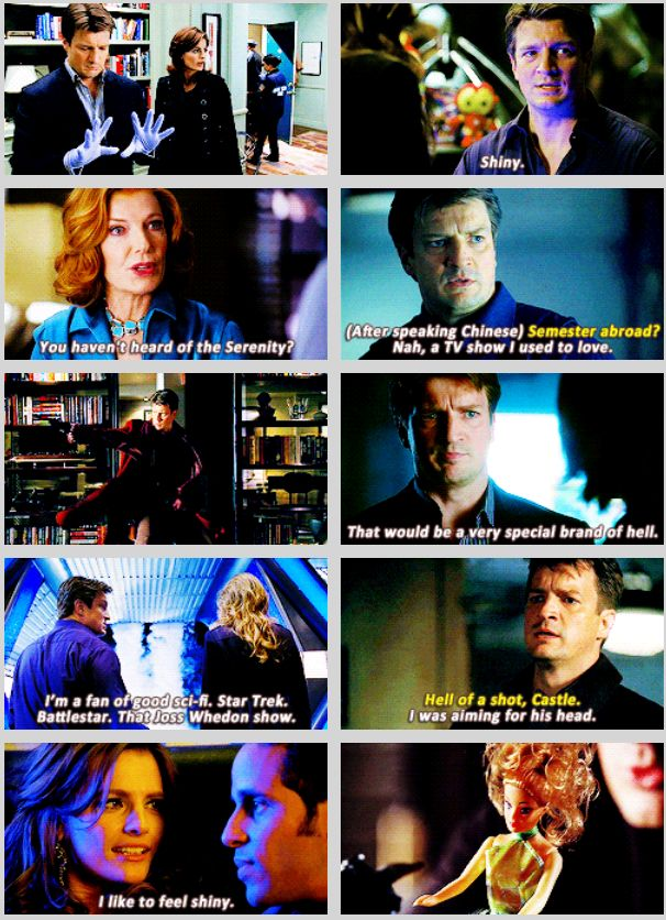"""(Gif) Firefly references on Castle - """"What are you supposed to be?"""" """"A space cowboy"""" """"Didn't you wear that, like 5 years ago?"""" """"So."""" """"Well don't you think you should move on?"""" """"No...I like it."""" lol"""