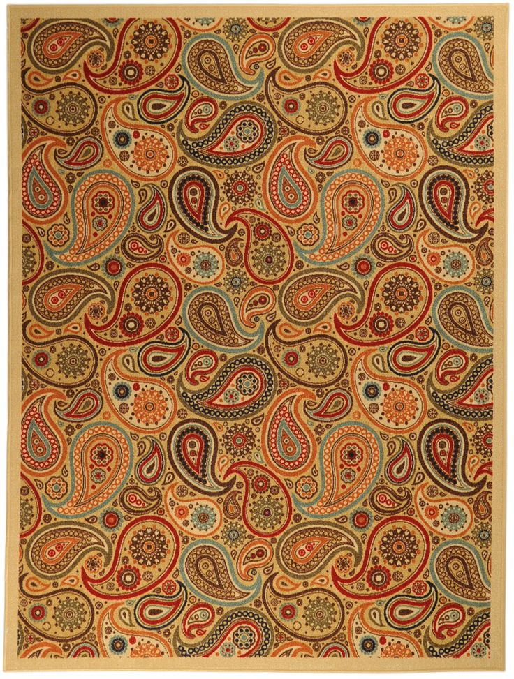 Kitchen Rubber Backed Runner Rugs | ... Back Non Skid Beige Traditional  Paisley