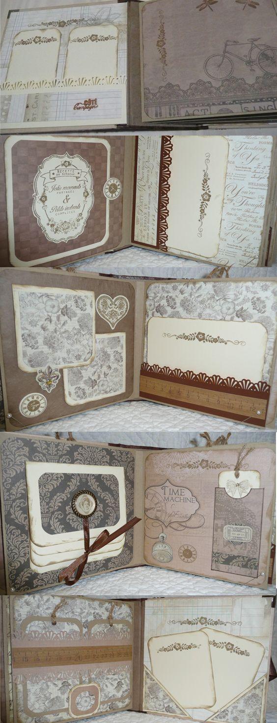 Vintage style scrapbook ideas - Mini Album Vintage Papiers Diverses Marques M S