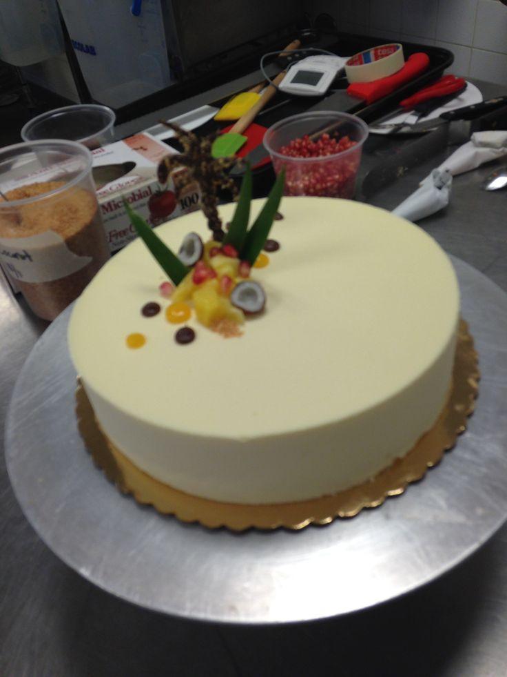 Passionfruit Entremet with passionfruit ganache and japonaise 10/2/2014