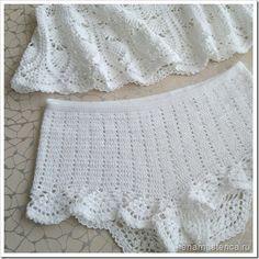 """kit tricô Beach """"a céu aberto"""". Superior e shorts de crochet. esquemas"""