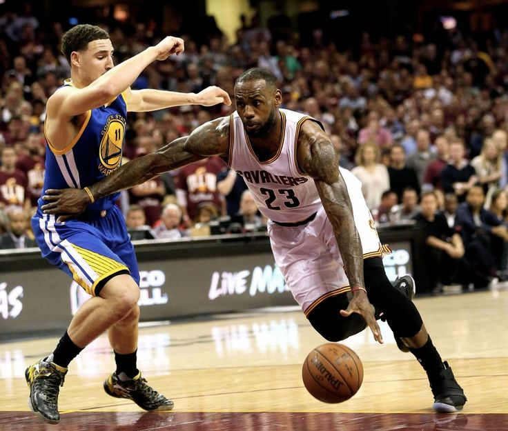 Cleveland Cavaliers vs. Golden State Warriors, June 8, 2016  LeBron James drives on Klay Thompson in the first half.