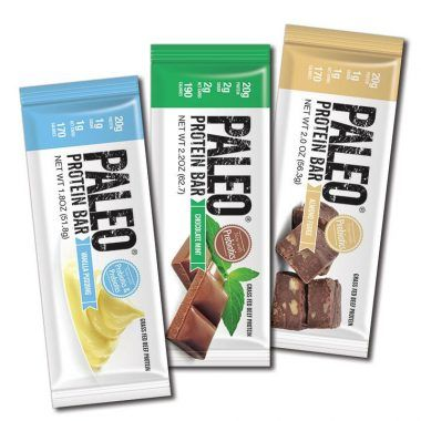 Paleo Protein Bars® Shop Now About the Bars Reviews   FREE SHIPPING AND MONEY BACK GUARANTEE Vegetarian, Nut free (Egg White) Caramel $29.99 (12 Bars) (5 N