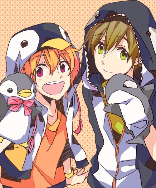 Cute lil babies!! Nagisa change in his penguin hoodie and mako chan with his killer whale puppet meep TwT