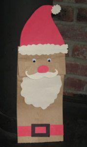Santa Claus Brown paper bag puppet.