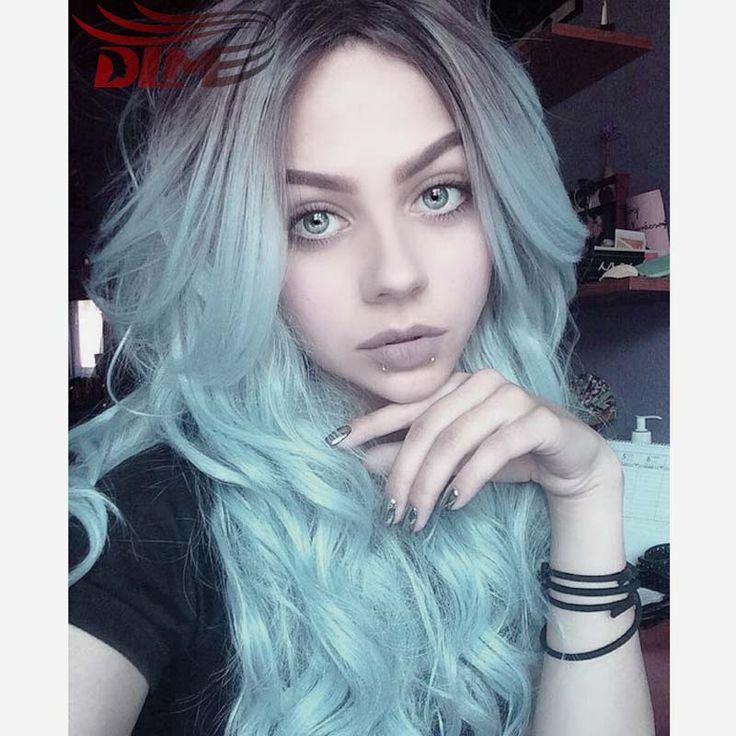 New Kylie Jenner Celibrity Hair Wig Cosplay Wig Dark Roots Fashion Synthetic Lace Front Wig Black To Light Blue Ombre Wig