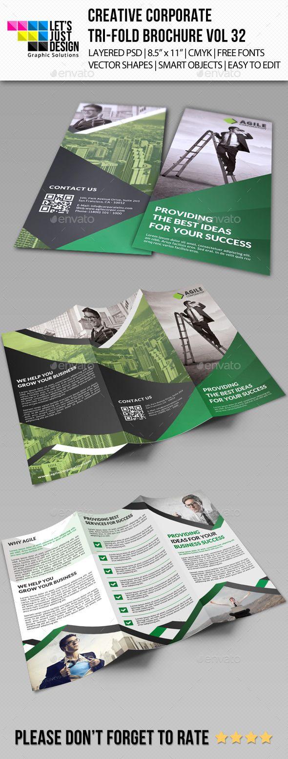 Creative Corporate Tri-Fold Brochure Template #design Download: http://graphicriver.net/item/creative-corporate-trifold-brochure-vol-32/11439273?ref=ksioks