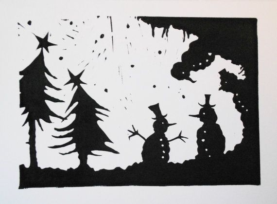 Christmas Linocut Greetings Card  Silhouette by thehangingbadger, £4.99