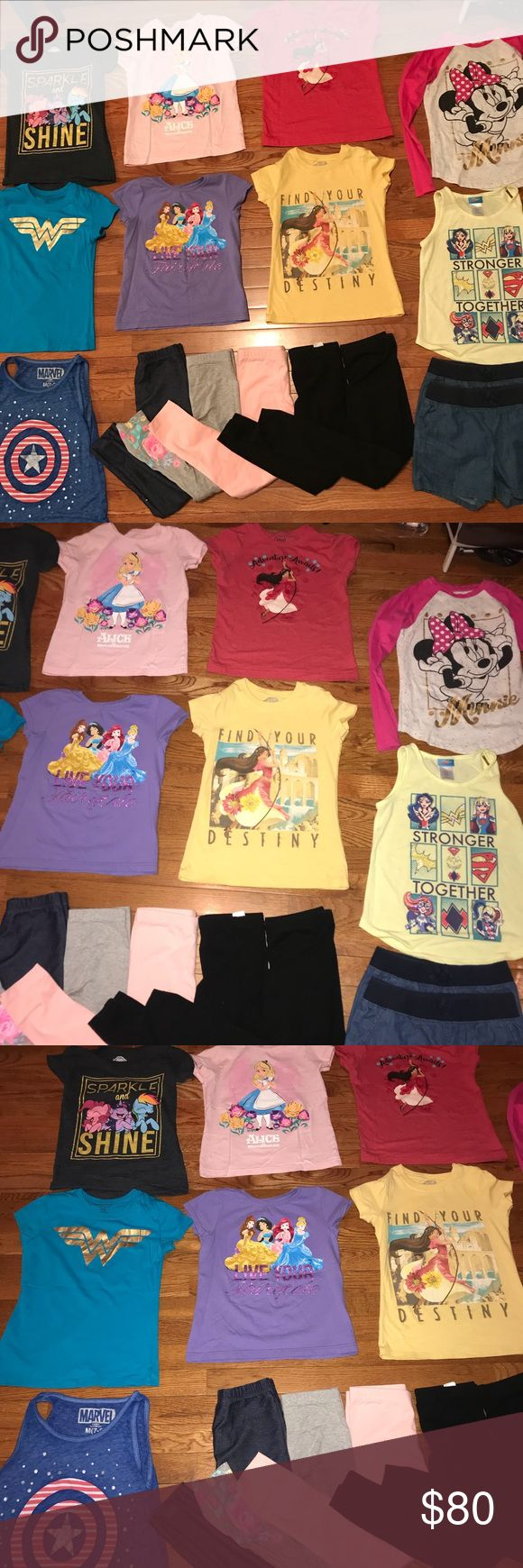 Girls large bundle Girls large bundle of 16 items size medium(7-8) which include 6 short sleeve tees( my little pony, Wonder Woman, Disney princess, Alice In Wonderland, 2 Elena of avalor), 1 3/4 sleeve Minnie Mouse tee, 2 tank tops( superhero girls and captain america)5 leggings(first 3 leggings carters size 7,black leggings cat and jack(target brand), and children's place) and 2 shorts( 1 size 6X-7 and 1 size 8). All in great condition no stains or rips. Brands include Disney, carters…