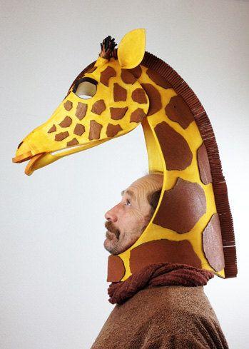 Giraffe head, handmade. Animal friendly costume mask. High style African beastie costume.