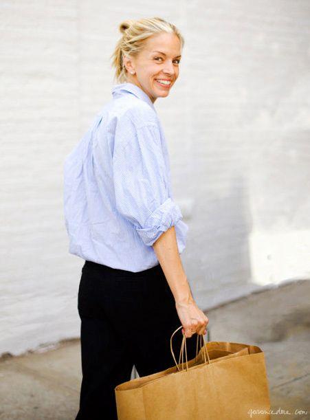 Light blue shirt, black pants / Garance Doré