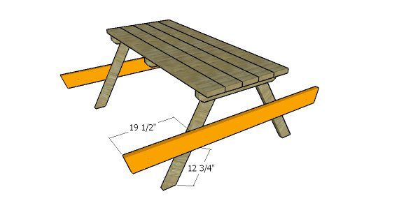 Fitting The Seat Supports Picnic Table Plans Picnic Table Wooden Playhouse Picnic Table Plans