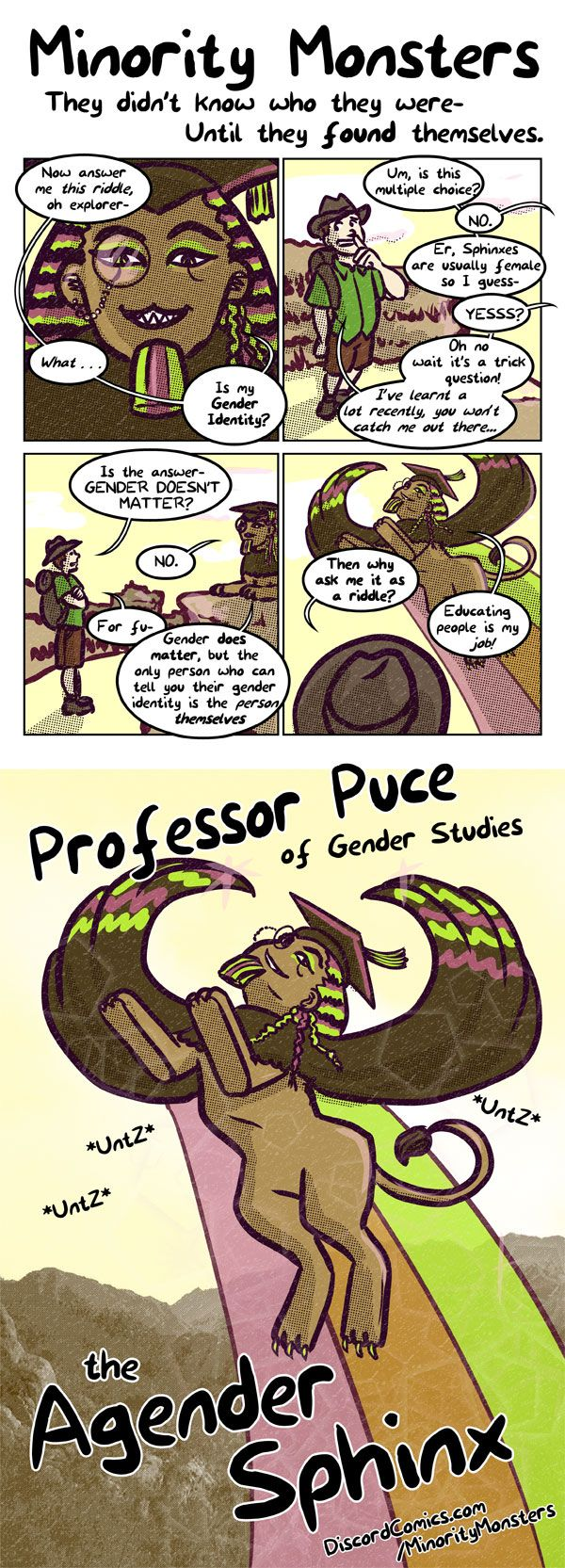 Minority Monsters–Professor-Puce-the-Agender-Sphinx By Tab Kimpton