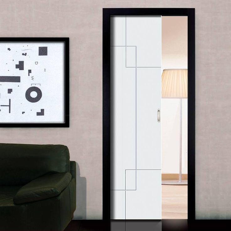 Single Pocket Fortune White sliding door system in three size widths. #contemporarydesignpocketdoor #slidingcontemporarydoor #whitepocketdoor