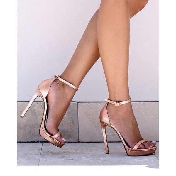 Cara heels by izoa - rose gold (1.405 NOK) ❤ liked on Polyvore featuring shoes, sandals, long sandals, narrow sandals, high heeled footwear, rose gold shoes and narrow shoes