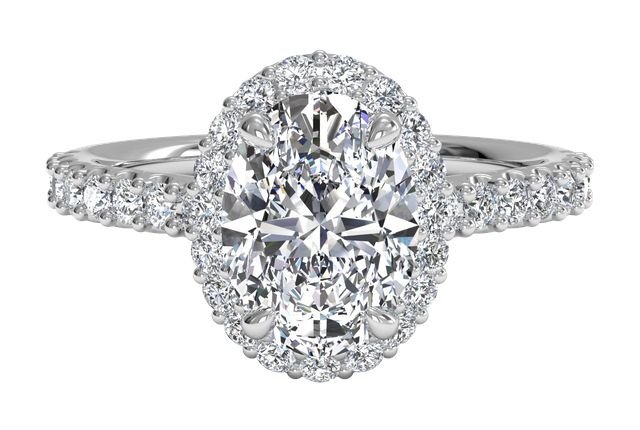 French-Set Halo Diamond Band Engagement Ring - in 14kt White Gold