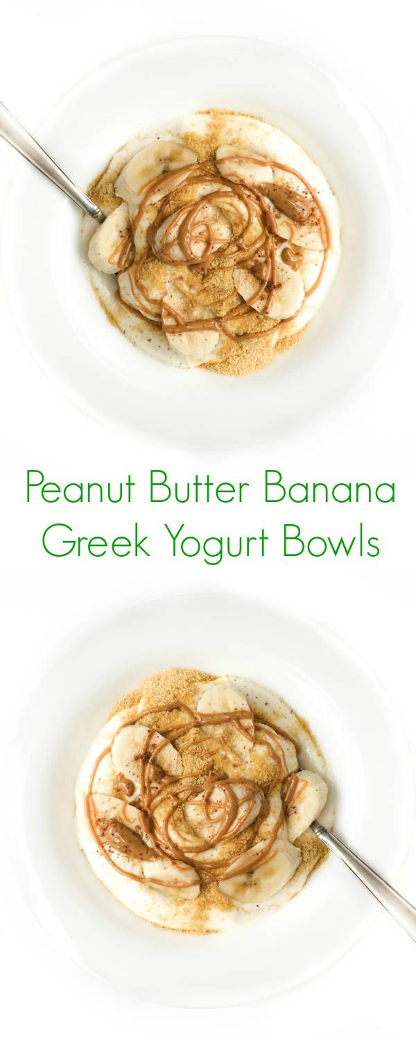 Creamy vanilla Greek yogurt is topped with banana slices and melted peanut butter to create this fun and easy protein-packed breakfast.