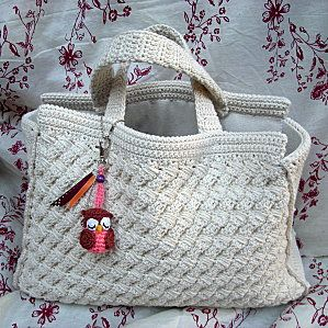 Crochet bag with owl accent                              …
