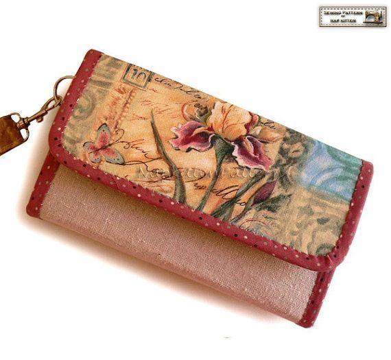 Wallet sewing pattern, clutch sewing pattern, accordion wallet pattern -- PDF…