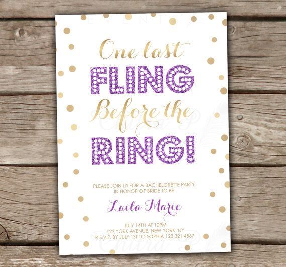 Last Fling Before the Ring Party Invitation - DIY, Printable, Gold, Glitter, Girls Night Out, Purple, Bachelorette Party, Wedding
