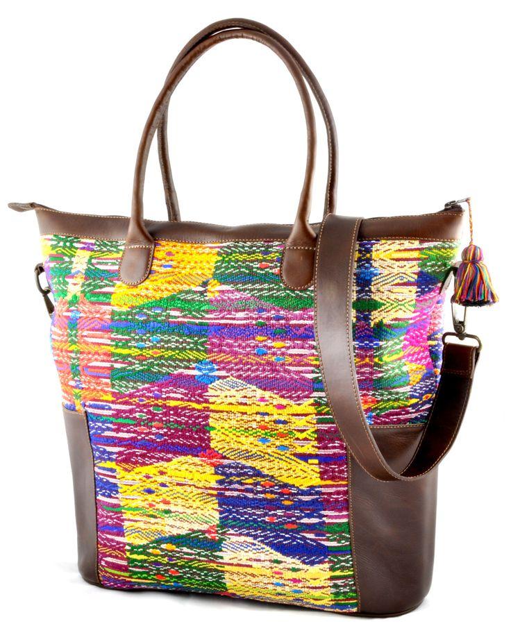 Huipil Weekender Tote - Yellow Huipil with Brown Leather – Handmade Guatemalan purses at everMaya.com