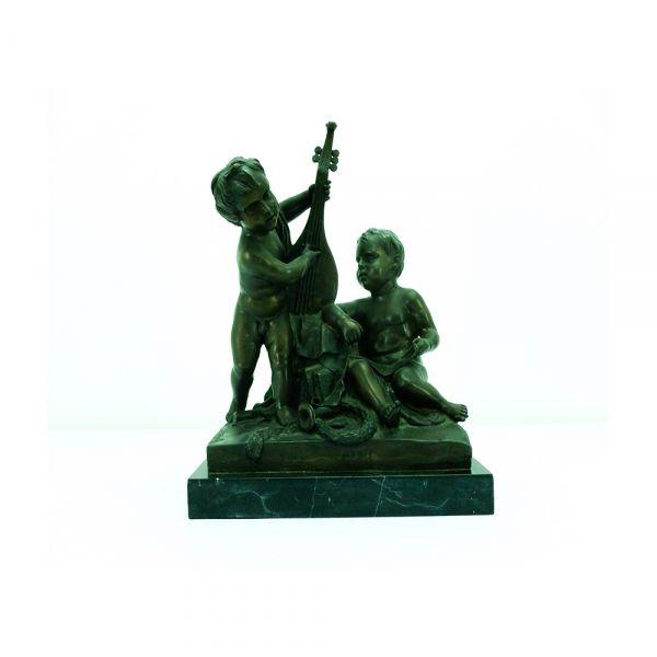 """J.B.PIGALLE - (Paris 1714-1785) - """"Crianças com alaude"""", escultura em bronze com base em már"""