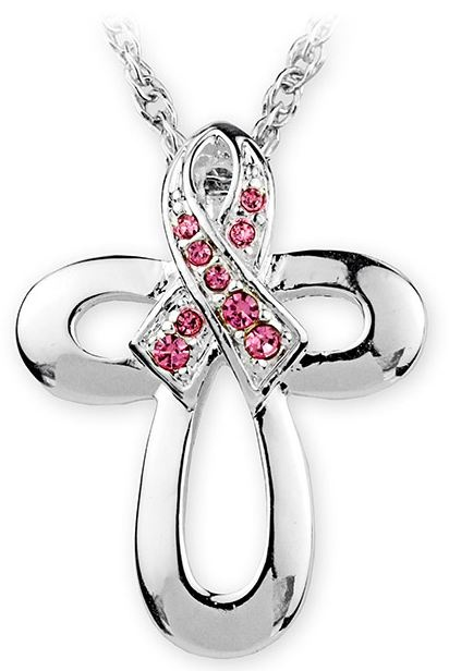 Pink Ribbon Crystal Cross Necklace.  Idea for a tattoo cross with the pink ribbon at the top.